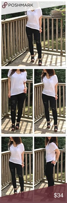 🆕 black shredded jeans Best fitting black shredded jeans these have lots of stretch and run true to size  PLEASE Use the Poshmark new option you can purchase and it will give you the option to pick the size you want ( all sizes are available) BUNDLE and save 10% ( no trades price is firm unless bundled) Jeans Skinny