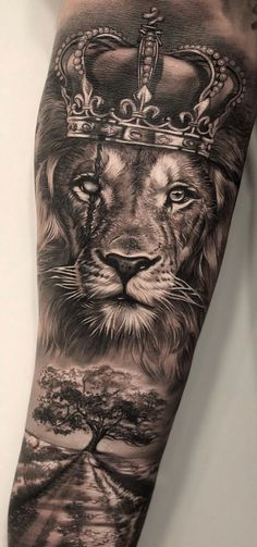 Discover recipes, home ideas, style inspiration and other ideas to try. Animal Sleeve Tattoo, Lion Tattoo Sleeves, Best Sleeve Tattoos, Tattoo Sleeve Designs, Animal Tattoos, Tattoo Designs Men, Lion Sleeve, Lion Forearm Tattoos, Lion Head Tattoos