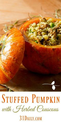 Pumpkin Stuffed with Herbed Apple Couscous - 31 Daily Pumpkin Recipes Side Dish, Pumpkin Dishes, Vegetable Recipes, Vegetarian Recipes, Cooking Recipes, Healthy Recipes, Thanksgiving Recipes, Fall Recipes, Holiday Recipes