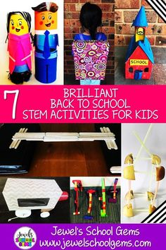 7 BRILLIANT BACK TO SCHOOL STEM ACTIVITIES FOR KIDS by Jewel's School Gems — In this blog post, I'm highlighting 7 All About Me, Back to School, and Team Building STEM Challenges for Kids in the Elementary Classroom | Get to know students with a Time Capsule. Develop teamwork with a Marble Run, an Apple Tower, and a Bridge. Develop children's 4Cs with a school bus, a backpack, and a schoolhouse. These are perfect for the beginning of the year. #backtoschoolstemactivities