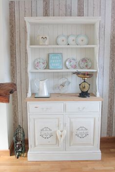 Solid Pine Shabby Chic French Farmhouse Country style Welsh Kitchen Dresser RESERVED on Etsy, £325.00 Recycled Furniture, Painted Furniture, Painted Cupboards, Kitchen Dresser, Estilo Shabby Chic, Home Altar, Cabinet Decor, Console, Inspired Homes