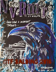Nevermore... Mail art deco page by TF Balding.  ©TF Balding 2016  https://www.facebook.com/SouthernSweetTeaStudio  https://www.etsy.com/shop/SouthernSweetTea30  https://www.patreon.com/SouthernSweetTea  https://society6.com/tfbalding  https://www.slslines.com/collections/coloring-book-printable/products/adult-coloring-book-featuring-illustratedatcs-artists