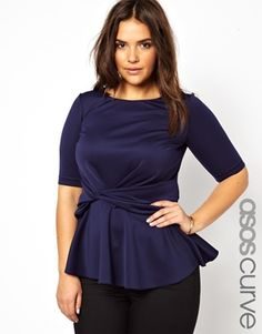 ASOS CURVE Peplum Top With Knot Detail