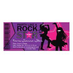 Rock Star Girl Band Birthday Purple Pink Card