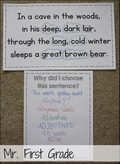 Use mentor sentences to teach grammar! I chose this sentence to teach adjectives then had the students try to figure out why I chose it! Mr. First Grade