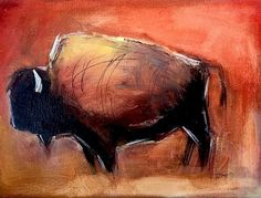 Gorgeous red ocher immediately gives a bold look to Jenny Braig's Petroglyph style buffalo artwork. This spirited piece is suited to you, art lover, looking to add the New West style and pop of color