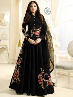 Buy Drashti Dhami black color silk party wear anarkali kameez in UK, USA and Canada Black Anarkali, Silk Anarkali Suits, Anarkali Dress, Lehenga, Long Anarkali, Gown Dress, Indian Gowns Dresses, Indian Outfits, Stylish Gown