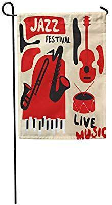 "Amazon.com : Emvency Seasonal Garden Flags 12"" x 18"" Acoustic Jazz Music Festival Instruments Saxophone Trumpet Guitar Piano and Drum Flat Concert Audio Outdoor Decorative House Yard Flag : Garden & Outdoor Jazz Festival, Festival Posters, Yard Flags, House Yard, Jazz Music, Saxophone, Trumpet, Shirt Ideas, Acoustic"