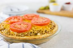 Recipe: Skinny Cheeseburger Pie- next time make it much more plain, no hamburger seasoning