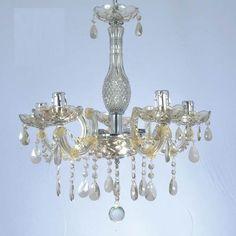 lustre de cristal champagne com 5 braços em acrílico