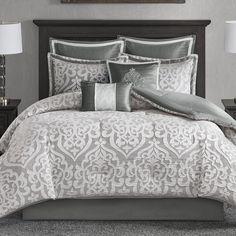 House of Hampton Tess 8 Piece Comforter Set Grey And White Comforter, Red Comforter Sets, White Duvet Covers, Ruffle Bedding, King Comforter, Duvet Cover Sets, King Size Comforters, Neutral Bedding