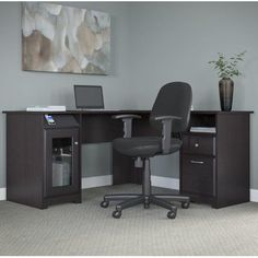 Red Barrel Studio Hillsdale L-Shaped Executive Desk and Office Chair Finish: