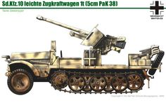 Sd.Kfz.10 mit 5cm Pak 38 Ww2 Panzer, Luftwaffe, Army Vehicles, Armored Vehicles, Military Paint, 30 Day Drawing Challenge, Military Drawings, Armoured Personnel Carrier, F-14 Tomcat