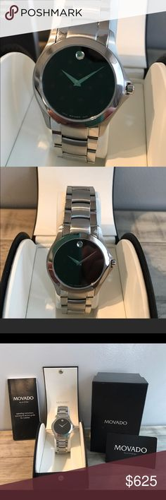NEW Men's Movado Watch New in original box....Authentic Movado Men's watch.... Men's modern classic quartz watch, stainless steel case, black museum dial.  Stainless steel link bracelet with push putting deployment clasp. My husband received this as a gift but it isn't his style.  All reasonable offers will be considered... Movado Accessories Watches