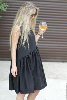 """Купить Платье свободного кроя """"Black style"""" - черный, однотонный, классика, черный цвет"""