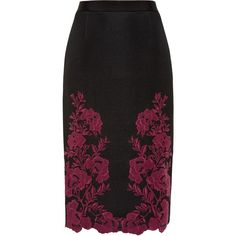 Ted Baker Valari Embroidered mesh lace skirt ($250) ❤ liked on Polyvore featuring skirts, pencil skirts, dark red, women, midi pencil skirt, fitted midi skirt, mid calf skirts, lace midi skirt and fitted skirts