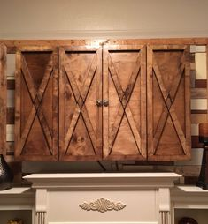 Handcrafted Rustic Wood TV Cover Farmhouse Style Wall Mount TV Cabinet
