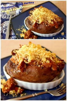 Cranberry BBQ Turkey Stuffed Sweet Potatoes - transform Thanksgiving leftovers into a completely new meal with your favorite barbecue sauce | cupcakesandkalechips.com