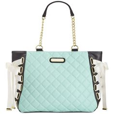 Betsey Johnson Tie Up Tote ($108) ❤ liked on Polyvore featuring bags, handbags, tote bags, mint, faux leather tote, mint green purse, betsey johnson tote bags, vegan tote and tote purse