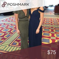 Shimmery gold green elegant evening dress Worn one night and received so many compliments! Is a large but fits snug so more like a medium. Dresses Prom