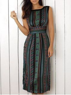 Sleeveless Print Slit Dress (layer for sleeves. Pretty Outfits, Pretty Dresses, Beautiful Outfits, Cute Outfits, Gorgeous Dress, Casual Outfits, Slit Dress, Dress Me Up, Jw Mode