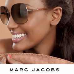 Marc Jacobs sunglasses Marc Jacobs vintage inspired oversized sunglasses with gold tone trim. Perfect for adding a touch of vintage glamour to your look on a sunny afternoon. 61mm lens width, 14mm bridge width, 130mm temple length. 100% UV protection. Gently used, in good condition. In 1st photo, model is wearing the same style in a different color. 2nd, 3rd and 4th photos show actual item for sale. Case in 4th photo included. Originally $105 at Nordstrom. No PayPal, no trades. Marc by Marc…