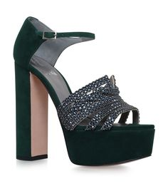 f8e62c65415 Buy Gina Green Leather Crystal Heels online