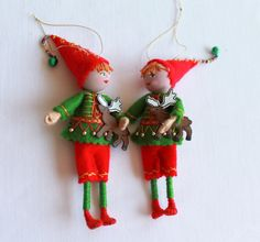 Felt+Art+Doll+Hanging+Ornament++Elf+Boy+with+by+WhisperingOak