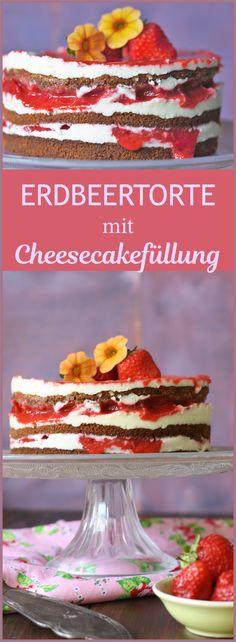 Cremige Erdbeertorte mit Cheesecake - Füllung und Erdbeersoße - Layer Cake von Naschen mit der Erdbeerqueen  http://naschenmitdererdbeerqueen.de/2016/06/24/erdbeertorte-cheesecakefuellung-mit-erdbeersosse/