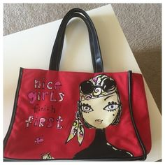 """❤️Nice Girls Finish FIRST -Bobbypin Large red tote! Says """"Nice girls finish First""""! So adorable with red outside and bright green lining. Great for books, tablet, or for shopping. In EUC really great shape and a fun bag!! Measures approx: 13.5 x 11 x 5. Jeffrey fulvimari Bags Totes"""