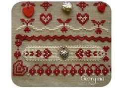 El blog de Georgina: Punto de cruz Cross Stitch Geometric, Embroidery Hearts, Little Stitch, Ideas Geniales, Counted Cross Stitch Patterns, Crochet, Blog, Scrappy Quilts, Log Projects