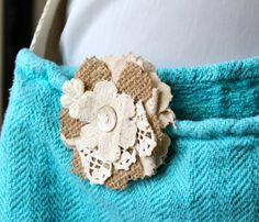 Cotton Lace and Burlap Flower Pin by Glitterfarm on Etsy, $10.00