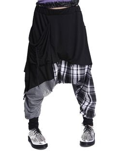 Newly Leisure Plaid Color Block Plaid Harem Pants For Women