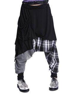 Newly Leisure Plaid Color Block Plaid Harem Pants For Women