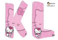 Alfabeto de Hello Kitty en fondo rosa. - Oh my Alfabetos!
