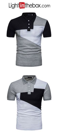 Men's Street chic Polo Shirt Collar Black & White