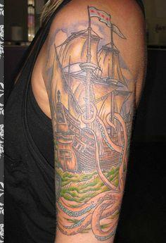 pirate ship and kraken