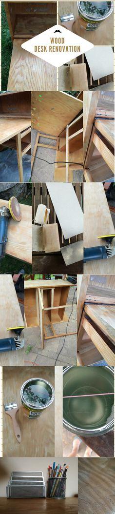 Wood Desk Renovation DIY