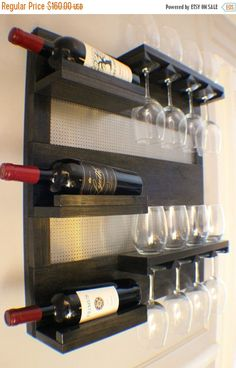 ON SALE Modern Ebony And Chrome Stained Wall Mounted Wine