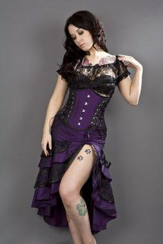 Burleska Corset - Mistress Underbust Corset - Purple Taffeta