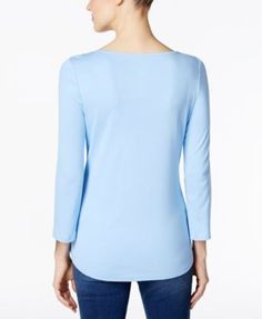 Charter Club Boat-Neck Button-Shoulder Top, Only at Macy's - Blue XS