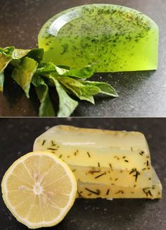 Homemade soap with citrus and herbs