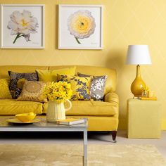 yellow sofa with tan walls | Yellow Living Room Design Ideas With Table Lamps And Yellow Sofa ...