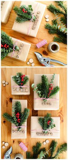 Envolver regalos navidad personalizados con rodajas de madera DIY / Branch Slices Chirstmas gift wrapping ideas