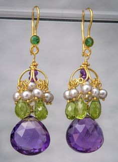 Amethyst Gold Dangle Earrings . The earring is composed of an 18 karat Gold ear wire with a faceted bezel set green Onyx, from which hangs a open wire design in a dome shape. Hanging from the dome are light grey Pearls (3mm), faceted Peridot briolette (8mm x 5mm), and a large faceted Amethyst pear shaped drop (14mm 14mm). All metal used in this is 18 Karat solid Gold. NOT Vermeil, Gold plate or Gold fill.
