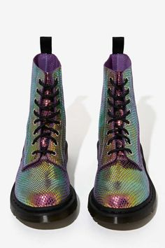 Doc Martens Pascal 8-Tie Boot - Iridescent - Shoes | Lace-Up | Flats | Lena Dunham Is A Nasty Gal