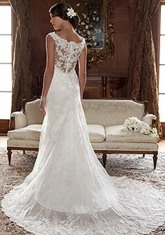 Lace A-line Scoop Neck Sleeveless Natural Waist Floor-length Wedding Dress picture 2