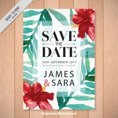 Wedding invitation with tropical flowers Free Vector