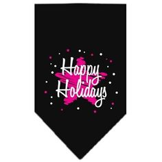 Scribble Happy Holidays Screen Print Bandana Black Small