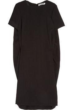 Jil Sander. Black wool blend twill cocoon dress.